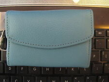 TALBOTS TURQUOISE BLUE PEBBLE LEATHER WALLET WITH KEY RING ATTACHED NEW WITH TAG