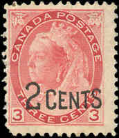 Canada Mint H F Scott #88 1899 2c-on-3c Provisional Stamp