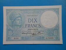 10 francs Minerve 26-9-1939 F7/15 SUP à SPL