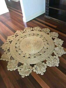 Rug 100% Natural Jute Round Handmade Reversible Braided style Modern Hemp Carpet