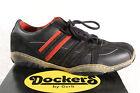 Dockers Hombre Zapatos De Cordones Zapatillas Cuero Auténtico Negro/rojo NUEVO