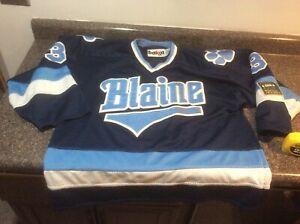 Blaine Bengals Game Worn Minnesota High School Hockey Jersey L Blue Bakca