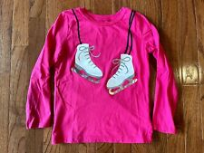Carter's Girls Pink Long-Sleeve T-Shirt, Ice Skates w/ Silver Sparkles. Size 6