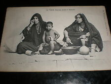 Old  postcard arab women cooking Cairo Egypt c1900s