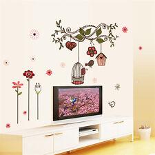 Wall Sticker Bird Cage Flowers Vines Art Mural Vinyl Decal for Kids Room Decor