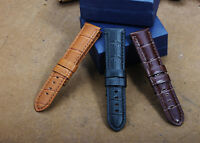 22mm Pre-V Genuine Leather Alligator Grain Watch Band Strap For PAM Belt Watch