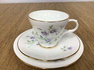 Drayton International Delicate Purple Flower Fine Bone Trio - Made in England