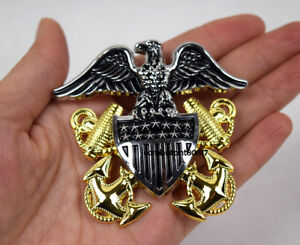 MILITARY WW2 US NAVY OFFICERS LARGE HAT METAL BADGE PIN