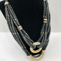 Vintage Black Multi Strand Necklace Infinity Coconut Bead Modernist Statement