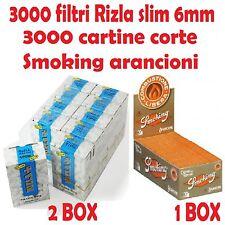 3000 FILTRI RIZLA SLIM 6mm + 3000 CARTINE SMOKING ARANCIONI CORTE + accendino