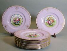 Superb Set of 11 Hand-Painted Spode Floral Cabinet Plates c. 1930  Signed Wood