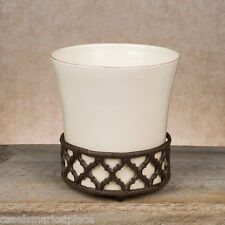 The GG Collection Ogee-G Small Ceramic Wastebasket Trash Can w/ Metal Base *