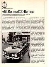 1969 ALFA ROMEO 1750 BERLINA  ~  ORIGINAL 4-PAGE ROAD TEST / ARTICLE / AD
