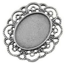 2 x Large Alloy Pendant Cabochon Settings, Lead & Nickel Free, Antique Silver