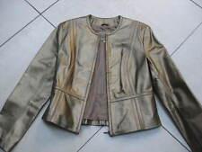 Ladies Marks and Spencer M&S short gold leather JACKET COAT size UK 10 8 bolero