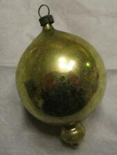 Antique Vtg 1900's German Feather Tree Mercury Glass Yellow Balloon Ornament ~#3