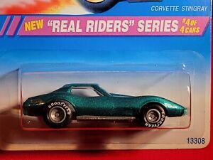 Hot Wheels ~ Corvette Stingray ~ 1995 Real Riders Series #4/4,  Mtflk Dark Green
