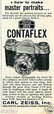 1958 small Print Ad of Carl Zeiss Ikon Contaflex Camera Zeiss Tessar Lens
