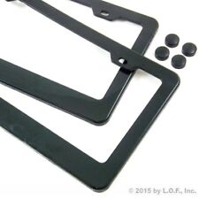 Pair License Plate Frame Black Plain Blank ABS Tag Holder Cover Screw Caps Auto