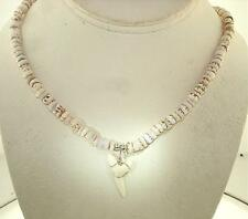 MEDIUM HAWAIIAN NIHO MANO MAKO SHARK TOOTH TIGER CONE PUKA SHELL NECKLACE #2