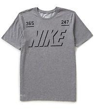 "NIKE Men's Dri-FIT Cotton ""365 / 247"" T-Shirt **CARBON HEATHER/BLACK - XL** NWT"