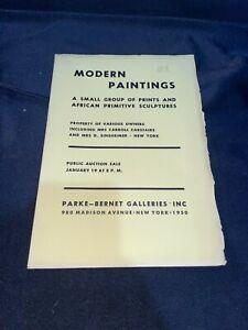 """Modern Paintings"" 1950 Parke-Bernet Art Auction Catalog w/ African Sculptures"