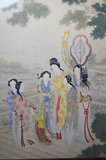 Antique Chinese Republic Period Framed Painting On Silk Guanyin Immortal Buddha