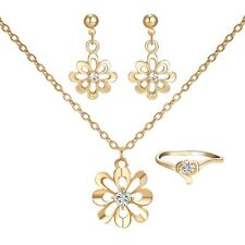 Women Crystal Flower Gold Necklace Earrings Ring Prom Wedding Party Jewelry Set