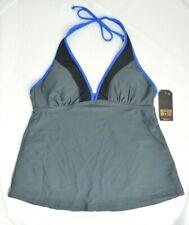 CONVERSE ONE STAR Size Medium Grey Black Blue Halter Padded Tankini Top NWT $25