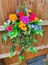 """Artificial Hanging Basket CHRYSANTH, WINTER PANSY, ROSES, IVY,  FERN 20"""" WIDE"""