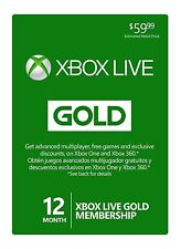 Microsoft Xbox Live Subscription 12 Month Gold Membership Card
