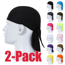 2pack Doo Rag Skull Cap Quick Drying Beanie for Running Cycling Sport Pirate Hat