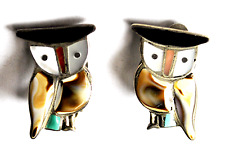 Beautiful Sterling Silver Owl Zuni Inlay Clip On Earrings 24mm Handcrafted