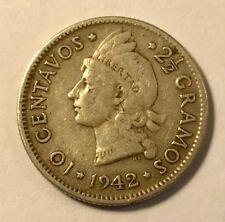 DOMINICAN REPUBLIC - WWII - 10 Centavos - 1942 - Small Silver Coin