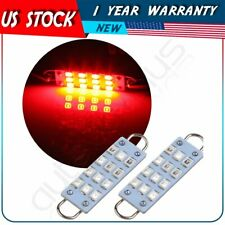2pcs Red 44mm Festoon Led Lights Lamps 12 Smd 2835 Car Interior Working Bulbs