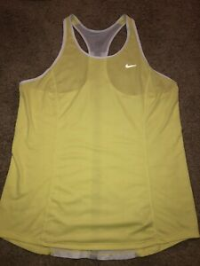 Womens Nike Dri Fit Tank Workout Top Yellow Size XL NWOT