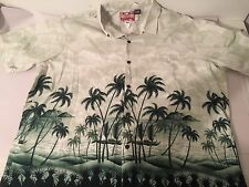 RJC Hawaiian Button Up Shirt | Cotton Beige Green Floral Palm Trees USA