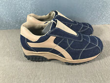 BNWOT Ladies Sz 5 Carrini Brand Blue Denim Tan Slip On Casual or Work Shoes