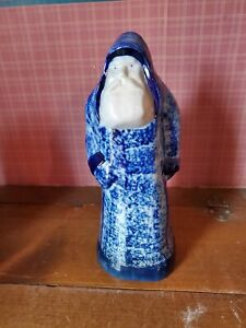Eldreth Pottery Tall Cobalt Blue White Salt Glazed Santa 1991