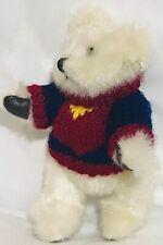 "2000 Hugfun Winter Teddy Bear w/Knit Sweater Plush Jointed Stuffed Animal 8"""