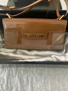 Auth BVLGARI Burgundy Cotton, Patent Leather Shoulder Hand Bag w/ Magnetic Flap