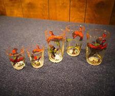 VTG 1950s Hazel Atlas Pheasant & Duck Hunt Glass Set, 3 Juice & 2 Shot Glasses