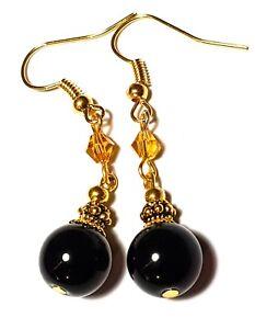 Long Gold Amber & Black Earrings Glass Bead Drop Dangle Vintage Chic Boho Retro