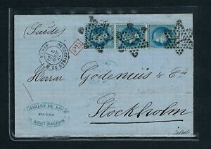 France 1868 Rare letter from Paris bound for Stockholm with a strip of 3 No. 29