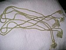 4 Vintage SILVER GLASS beaded curtain/drapery tassels tie backs 1950's