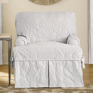 Matelasse Damask One Piece T cushion Chair Slipcover white washable