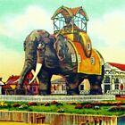 Lucy the Elephant Hotel Mid Century Art Print, Margate City, Jersey Shore Decor