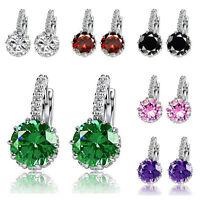 Elegant Women Crystal Rhinestone Silver Plated Ear Stud Earrings Jewelry Gift