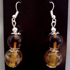 Brown Drop Earrings with Silver Hooks Originals By CassysJules