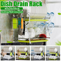 2 Tier Dish Plate Cup Drying Rack Organizer Drainer Storage Holder For Kitchen